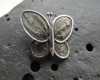 Silver Mesh Vintage Butterfly Brooch