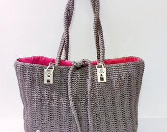 Shoulder bag//lanyard grey//daytime bag//handmade bag//shopper bag//Made in Italy