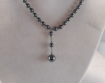 Hematite Bead Necklace with Drop Bead Pendant 16 inch