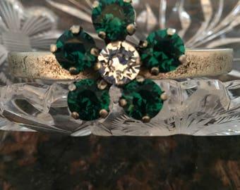 Swarovski Crystal Adjustable Cuff Flower Birthstone Bracelet