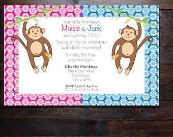 Monkey Invitation... Twin Monkey Invitations