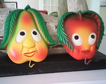 1970 CHALKWARE WALL HANGERS Apple Pear Pristine Kitsch Quirky