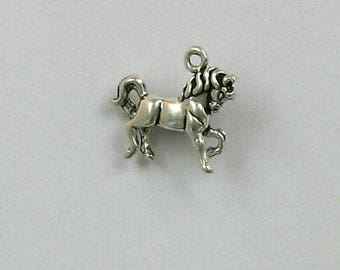 Sterling Silver 3-D Prancing Horse Charm