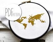 Cross stitch pattern modern WORLD MAP hand embroidery pattern counted cross stitch design diy beginner cross stitch pattern