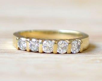 Vintage Five Diamond Ring - Diamond Anniversary Band - Vintage Wedding Band - Vintage Engagement Ring - Vintage Diamond Ring