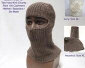 Two Hand Knit Chunky Pure 100 Cashmere Helmet / Balaclava / Ski Mask
