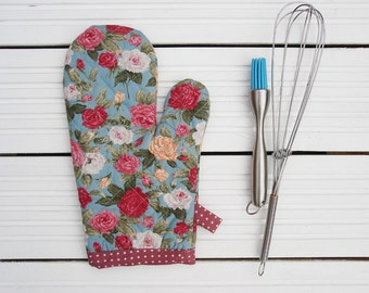 Floral Oven Glove/ Kitchen Oven Mitt / Duck Egg & Roses Retro Oven Mittens / Heat Proof Oven Mitts/ Ladies Oven Mitt/ Baking Glove / Xmas
