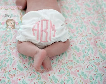 Girls Monogrammed White Bloomers Personalized Diaper Cover Newborn First Birthday