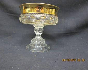 Gold Rim Pedestal Dish