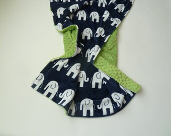 Personalized Minky Baby Blanket - Navy Elephant Minky Blanket - Baby Girl or Boy - Custom Made - You Choose Solid Minky Color - Double Minky