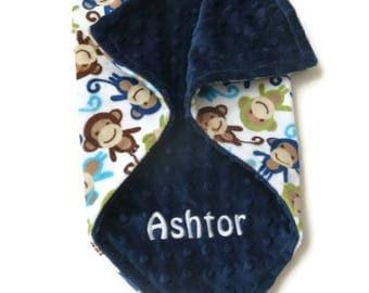 Personalized Minky Baby Blanket - Urban Zoologie Night Monkey in Midnight - Baby boy or baby girl blanket - Double Minky Blanket