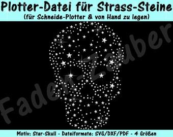 """Rhinestone template """"Star skull"""" for plotter & hand"""