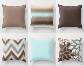 Throw Pillow Covers, Light Blue Beige Brown , Mix and Match, Decorative Pillow Covers, Floral Pillow Cover, Chocolate, Mocha, Beige, Sand