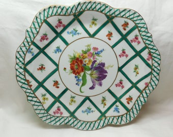 Vintage HF Elios Hand Painted Peint Main Porcelain Platter Decorative Dish Plate Bowl Green Gold Weave Wild Flowes Purple Iris Red Poppy