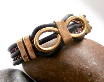 Mixed Metal Bracelet - Torque Bangle - Vintage Jewellery - Decorative
