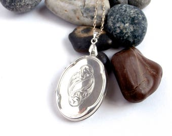 Silver Locket Necklace - Upcycled - Oval Locket - Sterling Silver - Large Locket