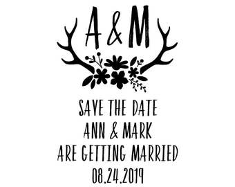 """Wedding Bouquet Stamp, floral antlers, rustic wedding, save the date, getting married, invitations stamp, wedding card stamp, 2""""x3"""" (cts173)"""