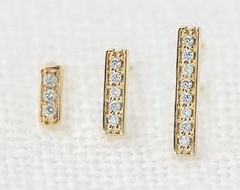 SINGLE Diamond bar stud, solid 14k gold pave diamond bar earring, dainty tiny simple natural diamond, yellow rose white gold, bar-e101-sin