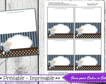 Elephant Baby Shower Food Labels - Elephant Baby Shower - Tent Cards - Place Cards  -  Food - Name Labels Printable  - Digital imprimable