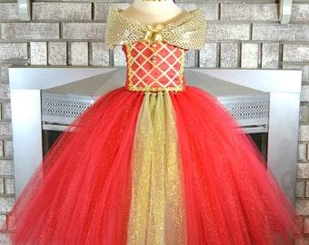Deluxe Gold Red Princess Tutu, Tutu Dress, Girls Outfit Tutu