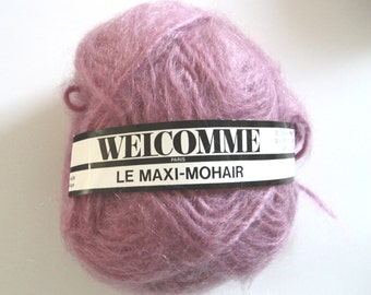 Destash mauve yarn, Aran weight mohair, multiples for sale, machine washable, discontinued, mohair blend, Maxi-Mohair, destashed, French