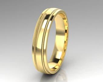 Mens Ring / Mens Wedding Band / Solid 14K Yellow Gold / Milgrain Design Band / 5.00 mm Wide