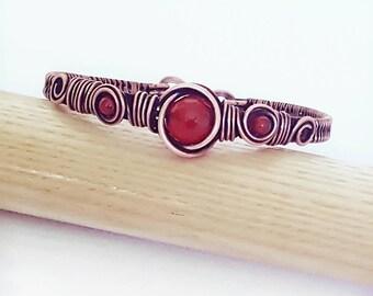 Wire carnelian bracelet/ wire bangle bracelet/ wire wrapped jewelry/ wire cuff bracelet/  copper wire bracelet/ copper wire jewelry