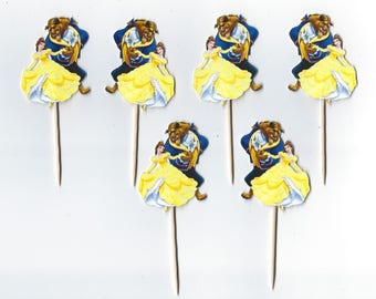 Beauty and the Beast, Princess Belle and the Beast cupcake topper, Princess cupcake picks Beauty & the Beast party Party Picks, Birthday