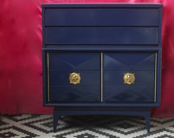 Century Diamond Front Tallboy Lacquered Glossy Navy - Ready to Ship!