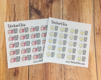 Sick Day planner stickers- Kleenex or Soup Bowl