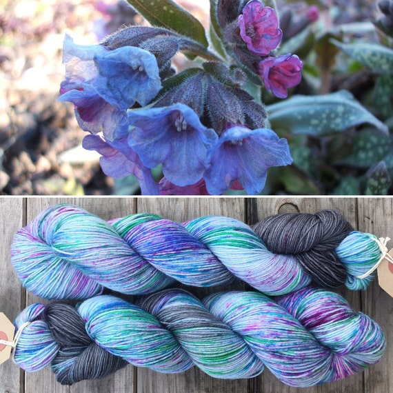 Lungwort BFL, speckle dyed blue purple grey 75/25 bluefaced leicester nylon sock yarn