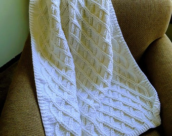 Handmade Crochet White Cable Blanket / White Cable Afghan / White Cable Throw / White Cable Lapghan