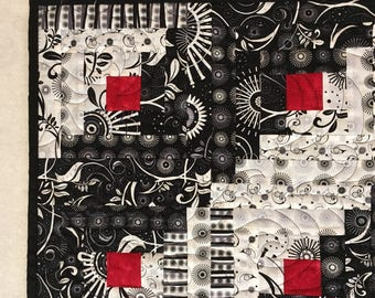 Log Cabin Quilt // Black and White Quilt // Red and Black and White // Patchwork Quilt // Handmade Quilt // Quilted Wall Hanging // Abstract