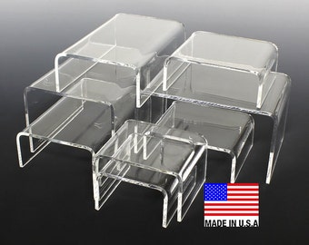 Clear Acrylic Display Risers,  2x2x2 up to 8x8x8, Non-Imported, USA Made Display Risers
