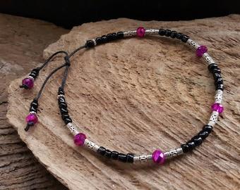 Pink Crystal, Black Seed Bead, & Tibetan Silver Ankle Bracelet, Bohemian Beaded Anklet, Boho Hippy Beach Festival