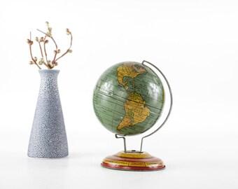 Vintage Chein World Globe, Child Tin Toy Globe, Small World Globe, Desk Globe, J. Chein Company Tin Toy, World Map, Antique Globe, Chein Tin