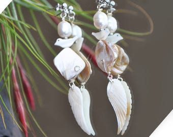 For Pearl natural loop of ear ears rangy wing of Angel Pearl