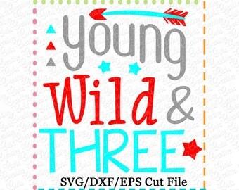 Young Wild & Three SVG Cutting File, third birthday svg, three birthday svg, birthday svg, birthday boy svg, boy birthday svg