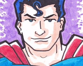 """Superman ACEO trading card2 1/2"""" x 3 1/2"""""""