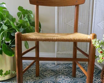Vintage Rope Chair - Curved Back - Desk Chair - Cafe Style Chair