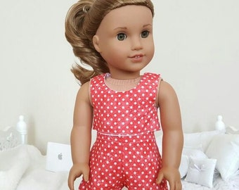 18 inch doll red/pink shorts and crop top