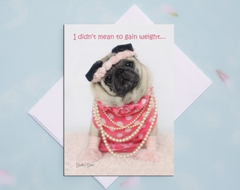 Funny Greeting Cards - Pug Card- Snaccident- Funny Cards - 5x7