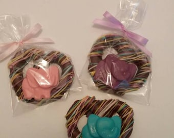 Chocolate Covered Pretzels With Elephant for Baby Shower