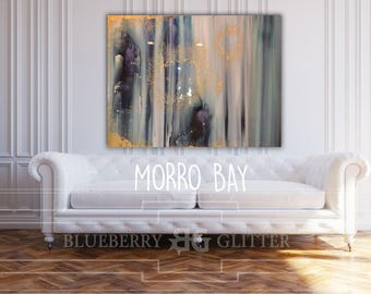 """Sold Abstract Painting Teal, Blue, Green, Pastel, Ombre Glitter with Glass and Resin Coat 36"""" x 48"""" real gold leaf Ikat """"morrow bay"""""""