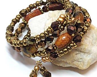 Hippie Bracelet - Memory Wire Wrap Bracelet - Earthy Bracelet - Rustic Bohemian Bracelet - Presents for Mom - Mother's Day  Gift