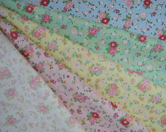 Bundle of 1/8 Yuwa Atsuko Matsuyama 30's Collection Roses and Daisies Fabric in 5 Colorways. Made in Japan.
