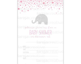 Pink Elephant Baby Shower Fill-In Invitations