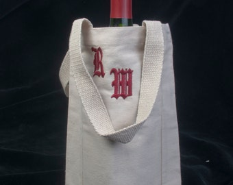 Personalized Embroidered Monogrammed  Wine Bottle Tote / Bag