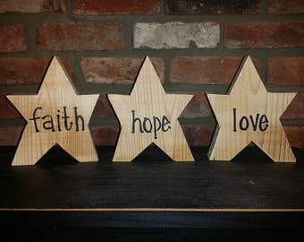 Faith Hope Love Wooden Stars Country Decor