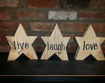 Live Laugh Love Wooden Stars Country Decor